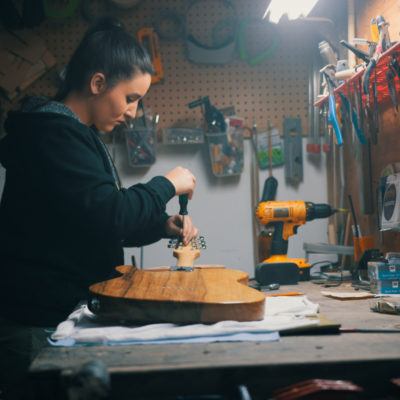 Meredith Coloma at her workbench.