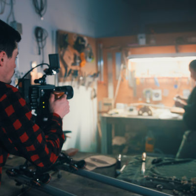 Brandon filming at Meredith's workbench with the RED Scarlet-W and Sigma 35mm f1.4 Art.