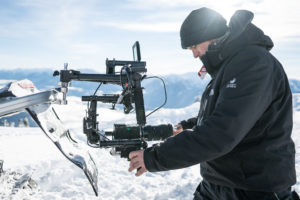 Paul Watt rigging a snowmobile mount DJI Ronin in the backcountry. Sigma 18-35mm f1.8 Art.