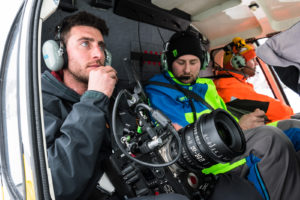 Byron Kopman going up in the helicopter with the Arctic Cat riders and the Sigma 18-35mm T2 CINE.
